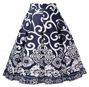 DJT Fashion A-line Printed Pleated Flared Midi Skirts